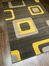 Rugs/Mat Approx 8x5ft 160x230cm Woven Backed Squares Quality Rugs Greys/Mustard